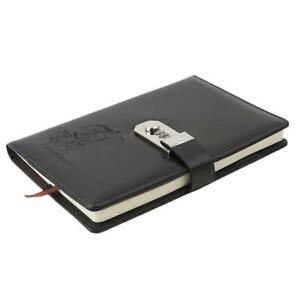 PU Leather  Diary Notebook Journal Notepad Hard Cover With Code Lock Gift Box WE