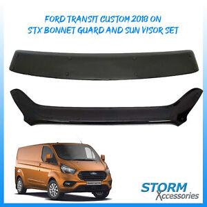 STX BONNET GUARD/ SHIELD & EXTERIOR SUN VISOR SET FOR FORD TRANSIT CUSTOM 2018+