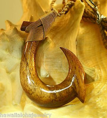 43mm Carved Genuine Hawaiian Koa Wood Ulua Slide Bait Makau Fish Hook Pendant #8