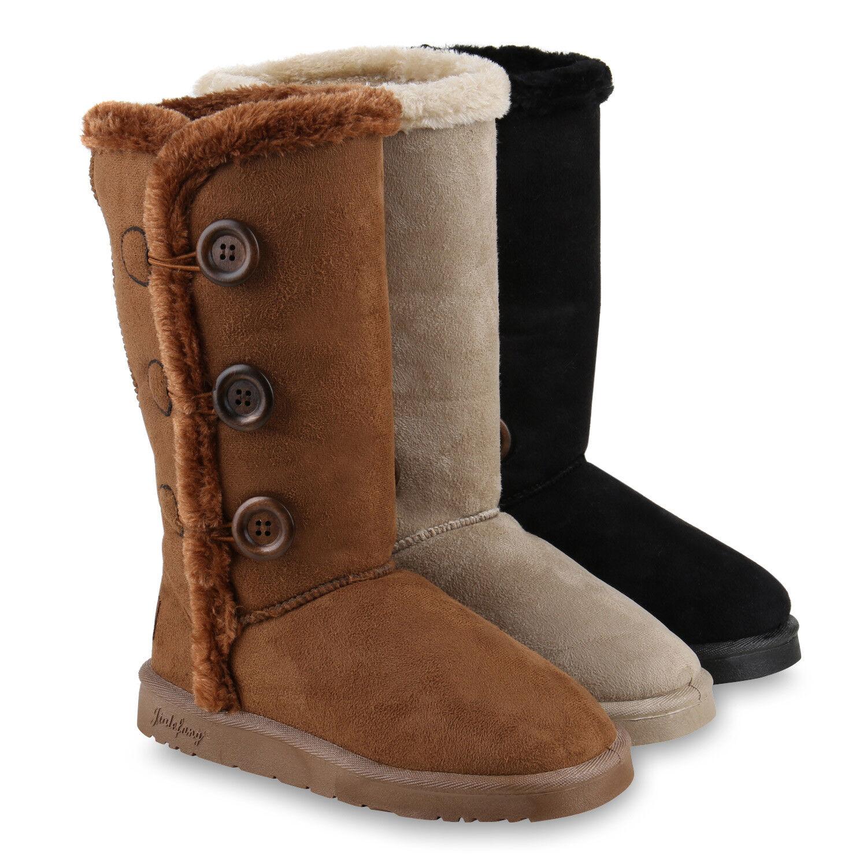 Warm Gefütterte Damen Stiefel Schlupfstiefel Kunstfell Boots 814107 Schuhe