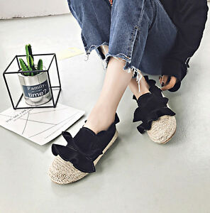 Women-039-s-Espadrilles-Casual-Boat-Shoes-Straw-Plaited-Slip-On-Flat-Comfy-Loafers