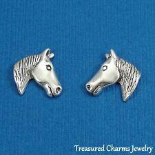 .925 Sterling Silver HORSE HEAD Equestrian Post Stud EARRINGS