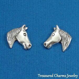 925-Sterling-Silver-HORSE-HEAD-Equestrian-Post-Stud-EARRINGS