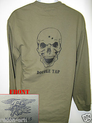 NAVY SEAL T-SHIRT// SKULL DOUBLE TAP// MILITARY// NEW