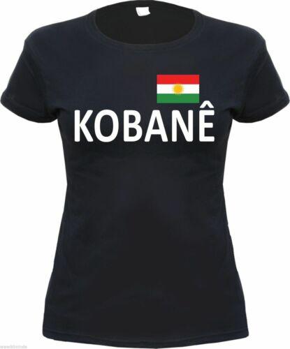 Text // Flagge kurdistan kobani S bis XL Schwarz Gr KOBANE Damen T-Shirt