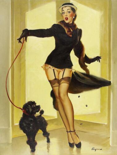 GIRL DOG Vintage rétro en métal étain signe AFFICHE PLAQUE garage bar Wall Decor A4 d3