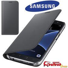 Custodia Flip Wallet Originale Samsung per Galaxy S7 G930F Cover Case Pelle Nera