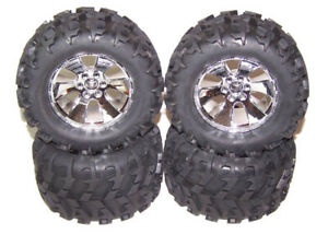 Redcat-Earthquake-3-5-4x4-1-8-Truck-Chrome-Wheels-Premounted-Tires-Rims-Set-of-4
