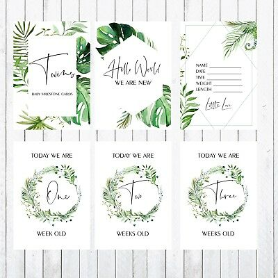 green Twins Baby Milestone Cards 4x6 Photo Prop 34 Cards leaves