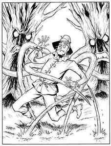 Details about SHADOW OF OZ, Greg Espinoza 9X7 original art, Scarecrow,  TAROT DECK ART