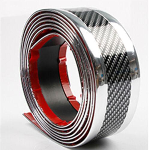 Car Carbon Fiber Silver Edge Guard Strip Door Sill Protector Accessories 7cm*1m