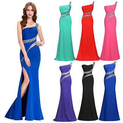 GK Mermaid One Shoulder Bridesmaid Evening Cocktail Ball Gown Long Prom Dresses