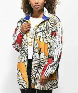 uk availability 100% high quality nice shoes Details about NEW WOMEN'S M L ADIDAS FARM YELLOW PALM PINEAPPLE WINDBREAKER  LONG JACKET