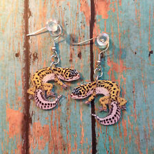 Leopard Gecko Lizard Reptile Earrings Handcrafted Plastic Made in USA