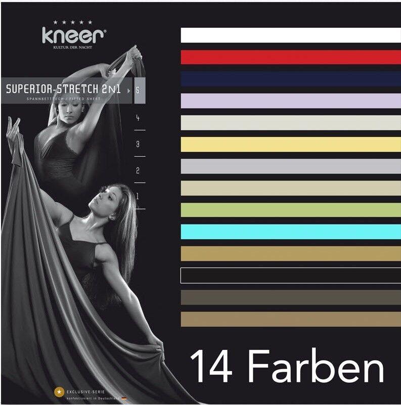 Wende- Spannbetttuch SUPERIOR-STRETCH 2N1 140x200 - 160x200 Kneer Q98 14 Farben
