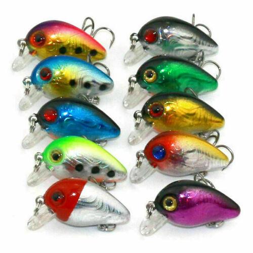 10 Pcs//LOT Minnow Fishing Lures Bass Floating Swing Hooks Tackle Crank Bait N4Q9