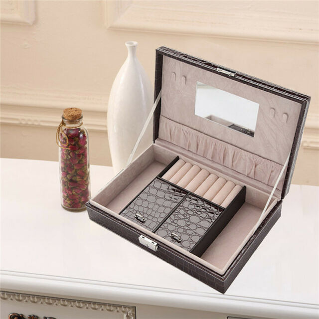 Black PU Mirror Jewelry Box Storage Organizer Case Ring Earring Necklace Display