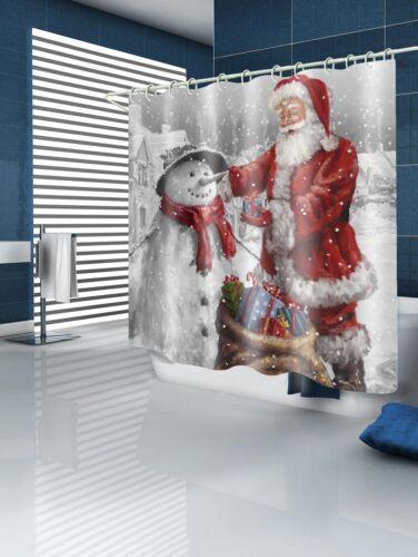 Christmas Santa Claus and Snowman Print Waterproof Bathroom Shower Curtain