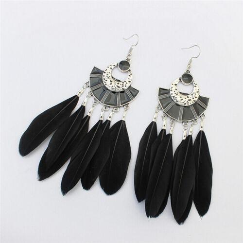 Retro Long Earrings Fashion Feather Earrings  Bohemian Ethnic Tassel Earrings JS