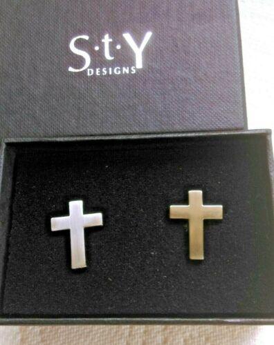 Gemelos en forma de una plata cruz latina Totalmente Nuevo Y En Caja
