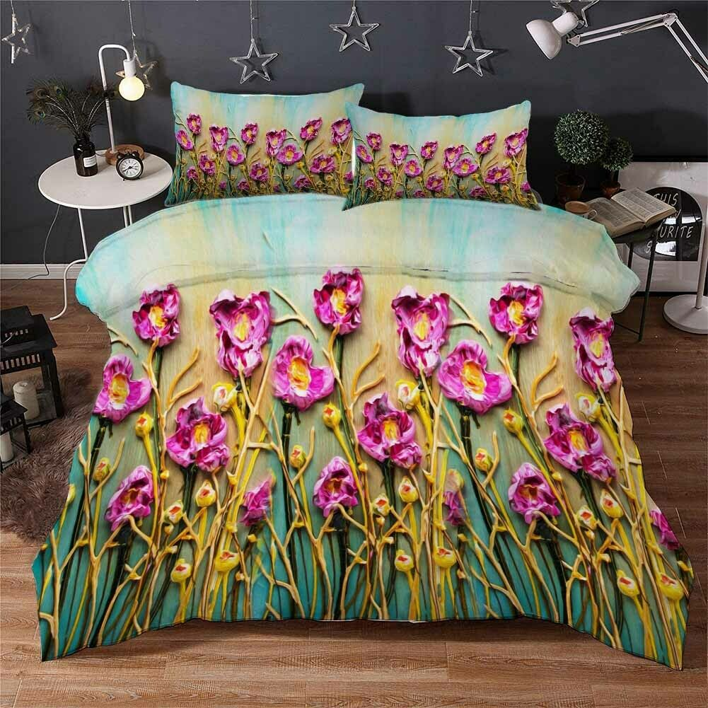 lila Gelb Stem 3D Druckening Duvet Quilt Will Startseites Pillow Case Bettding Sets