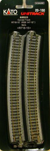 "NIB N Kato #20-150 Unitrack 28 1//4/""r R718-15 Curved Track 4 Pieces"