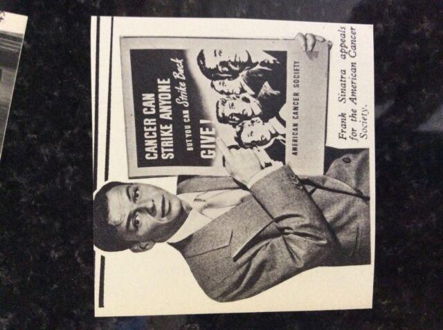 B1o  ephemera 1950s picture film star frank sinatra american cancer society