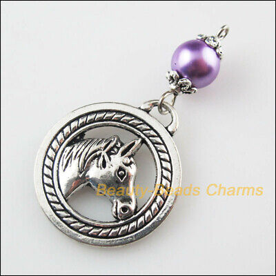 20 HORSE CHARMS PENDANT BRIGHT TIBETAN SILVER 19mm 3D C160