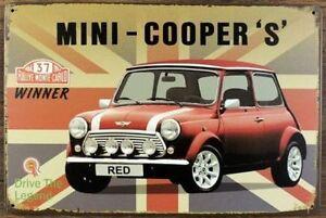 MINI-COOPERS-Tin-Metal-Sign-Rustic-Look-MAN-CAVE-brand-new-AU-SELLER