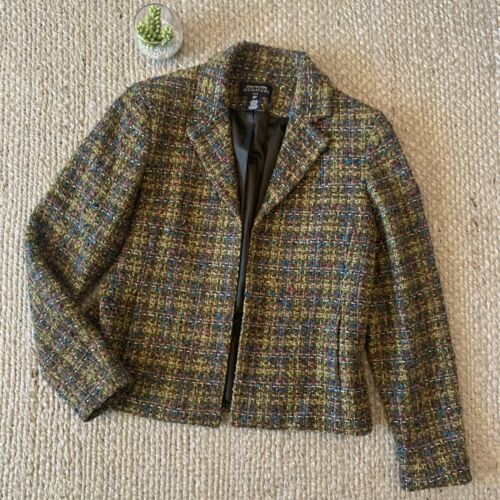 Jones New York Multi Color Tweed Wool Blazer Jacke