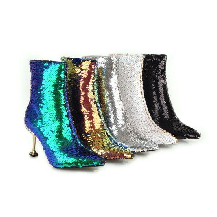 Donna Shinning Ankle stivali Pointed Toe High Stiletto Heel Sexy Nightclub scarpe