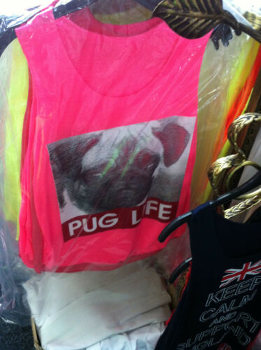 L162 Womens New Dog Pug Life Slogan Print Ladies Sleeveless T-Shirt Vest Top UN