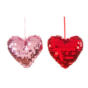 Valentines Day Sequin Plush Heart Set Of 2 Red Pink Ornaments