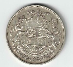 CANADA-1949-HOOF-OVER-9-50-CENT-HALF-DOLLAR-GEORGE-VI-CANADIAN-800-SILVER-COIN