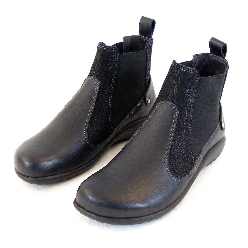 Naot Damen Schuhe Chelsea Stiefel Konini Echt Leder schwarz combi 12826 Fußbett