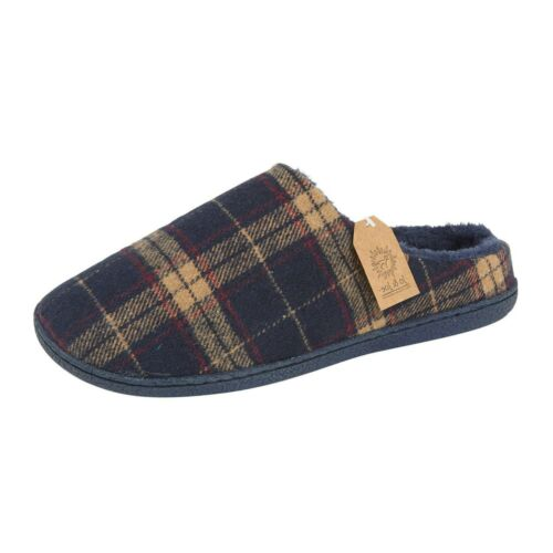 Mens Warm Fleeced Lined Slip On Mule Winter Cosy Comfortable Slippers Size 7-12
