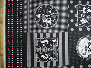 LECIEN-GIRL-039-S-STORY-Alice-in-Wonderland-Panel-Pattern-Black-Japanese-Fabric