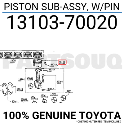 W//PIN 13103-17120 Details about  /1310317120 Genuine Toyota PISTON SUB-ASSY