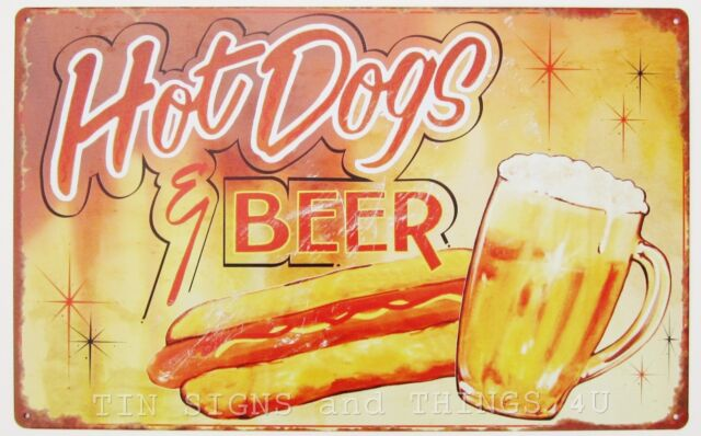 Hot Dogs & Beer TIN SIGN vtg retro advertising metal wall decor kitchen home bar