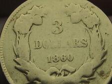 1860 S $3 Gold Indian Princess Three Dollar Coin- Very Rare