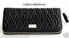 New COACH Madison Gathered Twist Leather Accordion Zip Wallet - F49609-Black