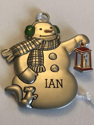 Hallmark Metal Snowman Ornament Red Lantern Girls Boys Name Blank Special People