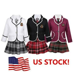 US-Girls-Kids-School-Uniform-Outfits-Anime-Cosplay-Party-Dress-Up-Skirt-Costume