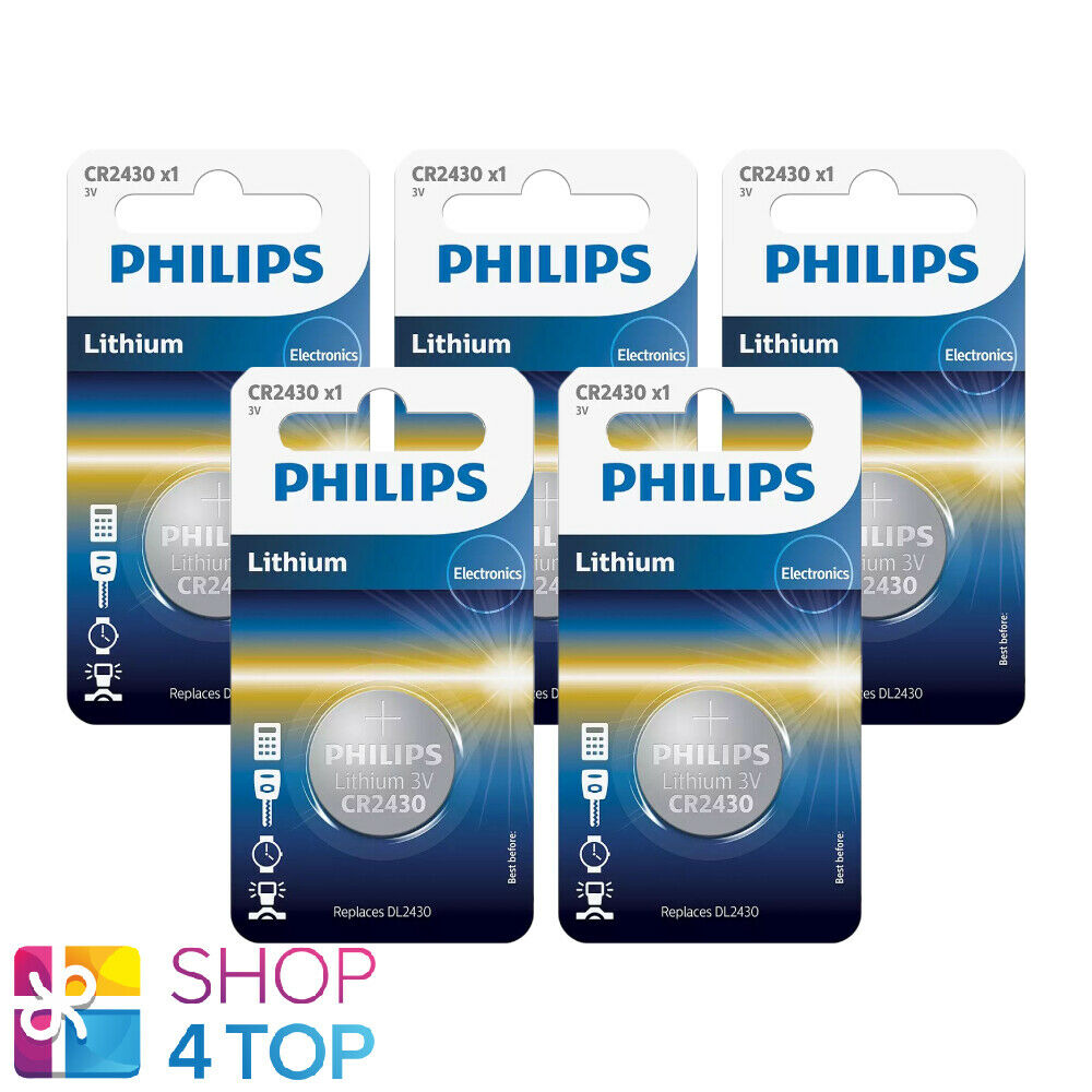 5 philips cr2430 lithium batteries 3v cell coin button dl2430 1bl exp 2023 new