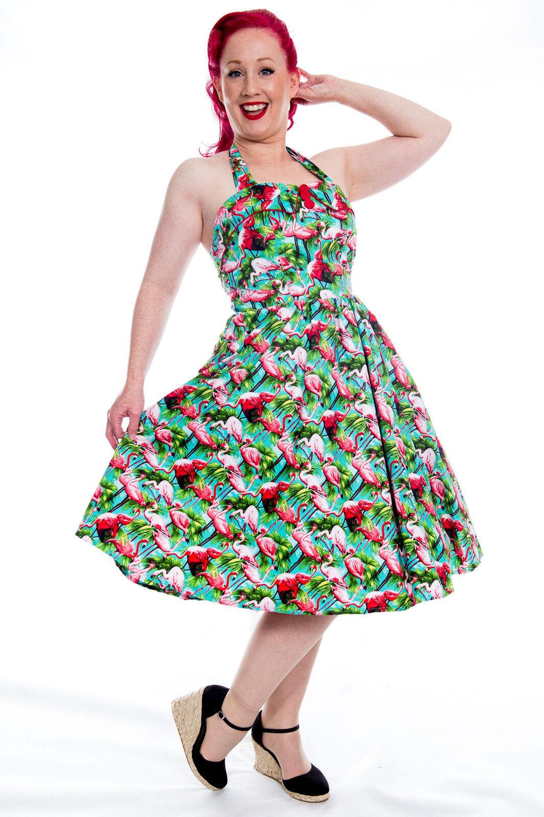 50s FLAMINGO FOR IT Rockabilly Swing Dress  Retro Pinup Psychobilly Plus Größe