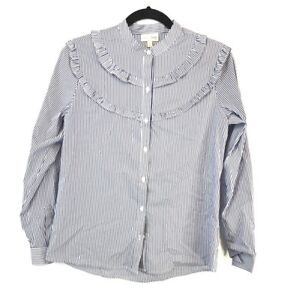 Maison-Jules-Women-039-s-Striped-Button-Up-Blouse-Size-S-New-With-Tags