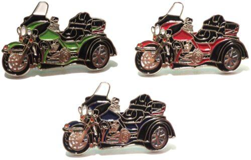 Trike 3 Wheeled Bike Biker Motorcycle Motorbike Metal Rocker Enamel Badge Set