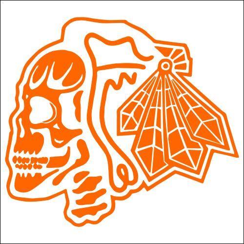 TWO Pack Chicago Blackhawks Skull Vinyl Decal Sticker 2