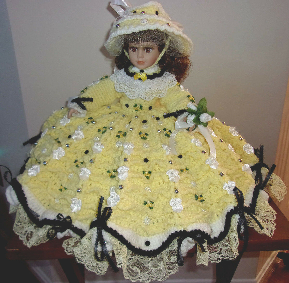 HANDMADE CROCHET BED PILLOW ATTACHED PAJAMA DOLL,LIMITED BAG PORCELAIN DOLL,LIMITED PAJAMA 4a1ea2