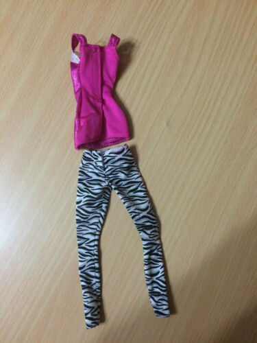 Barbie Doll Fashionistas Rock Star Silver Pink Top Black White Zebra Pant Outfit